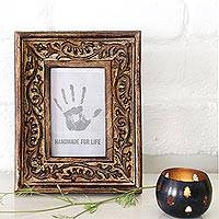 Wood photo frame, 'Forest Window' (4x6) - Hand Carved Vine Motif Mango Wood Photo Frame (4x6)