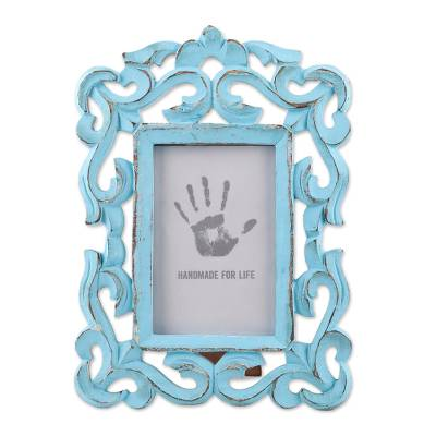 Wood photo frame, 'Regal Portrait' (4x6) - Hand Carved Aqua Green Mango Wood Photo Frame (4x6)