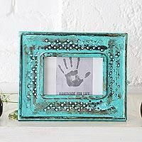 Wood photo frame, 'Blossom Meadow' (4x6) - Green Hand Carved Flower Cutouts Wood Photo Frame (4x6)