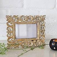 Wooden photo frame, 'Golden Leaves' (4x6) - 4x6 Hand-Carved Golden Mango Wood Ornate Photo Frame