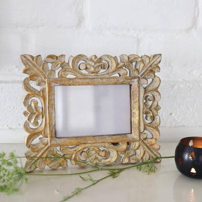 Wooden photo frame, Golden Leaves (4x6)