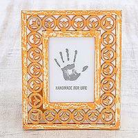 Wood photo frame, 'Orange Lotus' (5x7) - Hand-Painted Orange Hand-Painted Floral Photo Frame 5x7