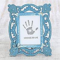 Wood photo frame, 'Memory Keeper' (5x7) - Hand-Carved Blue Shabby-Chic Mango Wood Photo Frame 5x7