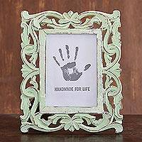 Wood photo frame, 'Moment in Time' (5x7) - Sage Green Distressed Hand Carved Mango Wood Photo Frame 5x7
