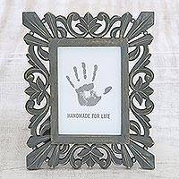 Wood photo frame, 'Treasured Memories' (5x7) - Dark Grey Distressed Hand Carved Mango Wood Photo Frame 5x7