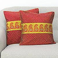 Silk cushion covers, 'Paisley Brilliance' (pair) - Paisley Motif Baluchari Silk Cushion Covers (Pair)
