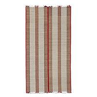 Cotton and grass reed blend area rug, 'Classic Stripes' (3x5.5) - Cotton and Grass Reed Area Rug in Red and White (3x5.5)