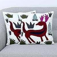 Cotton cushion covers, 'Royal Deer' (pair) - Aari Embroidery Folk Art Deer Theme Cushion Covers (Pair)