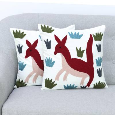 Cotton cushion covers, 'Joyful Joey' (pair) - 2 Aari Embroidery Folk Art Kangaroo Cotton Cushion Covers