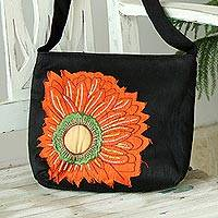 Cotton blend sling, 'Brilliant Blossom' - Black Cotton Blend Sling Bag with Orange Floral Motif