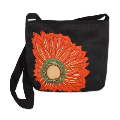 Black Cotton Blend Sling Bag with Orange Floral Motif