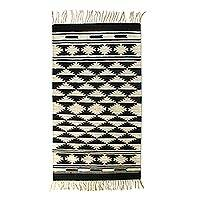 Wool area rug, 'Geometric Constellations' (3x5) - Ivory and Black Handwoven Geometric Wool Area Rug (3x5)