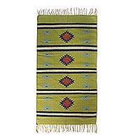 Wool area rug, 'Dancing Stars' (3x5.5) - Chartreuse Geometric 3x5 Handwoven Wool Area Rug with Fringe