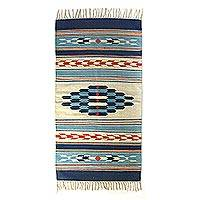Wool area rug, 'Geometric Fusion' (3x5) - 3x5 Boho Geometric Handwoven Wool Area Rug with Fringe