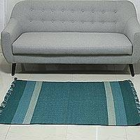 Wool area rug, 'Turquoise Harmony' (3x5) - Striped Wool Area Rug in Turquoise (3x5) from India