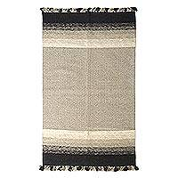 Wool area rug, 'Earthen Fusion' (3x5) - Handwoven Wool Area Rug in Black and Beige (3x5) from India