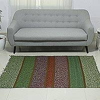 Wool area rug, 'Sophisticated Colors' (4x6) - Handwoven Multicolored Wool Area Rug (4x6) from India