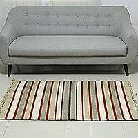 Wool area rug, 'Passionate Stripes' (3x5) - Handwoven Striped Wool Area Rug (3x5) from India