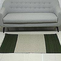 Wool area rug, 'Mossy Shore' (3x5) - Handwoven Wool Area Rug in Moss and Ivory (3x5) from India