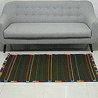 Wool area rug, 'Green Candy Stripe' (3x5) - Multicolored Striped Wool Area Rug (3x5) from India