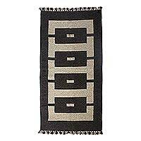 Wool area rug, 'Ivory Geometry' (3x5) - Geometric Wool Area Rug in Ivory and Espresso (3x5)