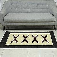 Wool area rug, 'X Marks the Spot' (3x5) - Handwoven Wool Area Rug with X Motifs (3x5) from India