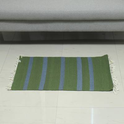 Cotton area rug, 'Eucalyptus Forest' (2x3) - Handwoven Cotton Area Rug in Eucalyptus and Azure (2x3)