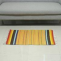 Cotton area rug, 'Rainbow Spring' (2x3.5) - Handwoven Multicolored Cotton Area Rug (2x3.5) from India