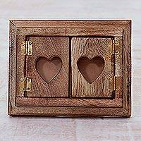 Wood photo frame, 'Doors of Love' (4x6) - Mango Wood Photo Frame with Doors from India (4x6)