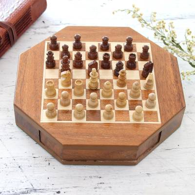 Wood mini chess set, 'Mind Battle' - Wood Mini Chess Set with a Magnetic Board from India