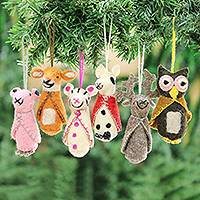 Wool ornaments, 'Winter Animals' (set of 6) - Animal-Themed Wool Ornaments from India (Set of 6)