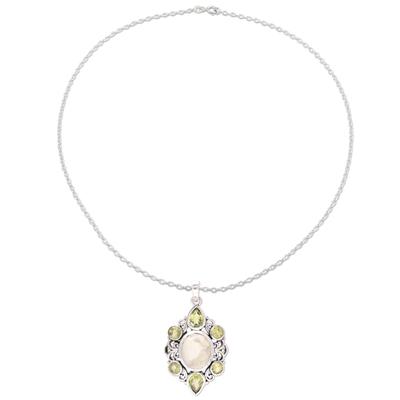 Peridot and Prehnite Gemstone Drop Necklace