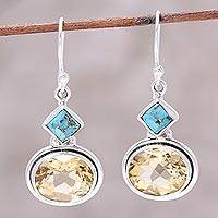 Citrine dangle earrings, 'Watery Gold' - Nine-Carat Citrine and Composite Turquoise Earrings