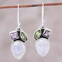 Rainbow moonstone dangle earrings, 'Glistening Dazzle' - Teardrop Rainbow Moonstone Peridot and Amethyst Earrings