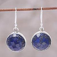 Lapis lazuli dangle earrings, 'Watery World' - 13-Carat Lapis Lazuli Dangle Earrings from India