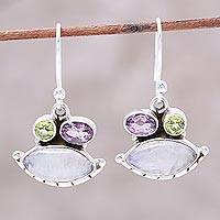 Rainbow moonstone dangle earrings, 'Glistening Eyes' - Eye-Shaped Rainbow Moonstone Dangle Earrings from India