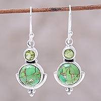 Peridot dangle earrings, 'Lively Harmony' - Peridot Dangle Earrings from India
