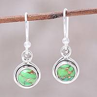 Sterling silver dangle earrings, 'Adorable Moon in Green' - Sterling Silver and Green Composite Turquoise Earrings
