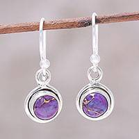Sterling silver dangle earrings, 'Adorable Moon in Purple' - Sterling Silver and Purple Composite Turquoise Earrings