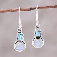 Blue topaz and rainbow moonstone dangle earrings, 'Sky Glimmer' - Blue Topaz and Rainbow Moonstone Dangle Earrings from India