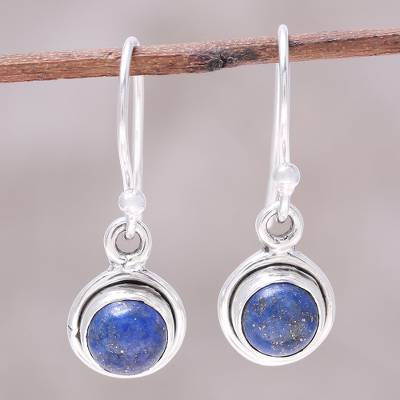 Lapis lazuli dangle earrings, 'Adorable Moon in Deep Blue' - Round Lapis Lazuli Dangle Earrings from India
