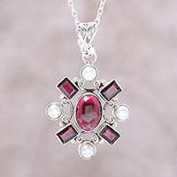 Garnet and cultured pearl pendant necklace, 'Alluring Style' - Garnet and Cultured Pearl Pendant Necklace from India