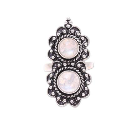 Two-Stone Rainbow Moonstone Cocktail Ring from India