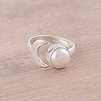 Cultured pearl wrap ring, 'Gleaming Crescent' - Cultured Pearl Crescent Wrap Ring from India