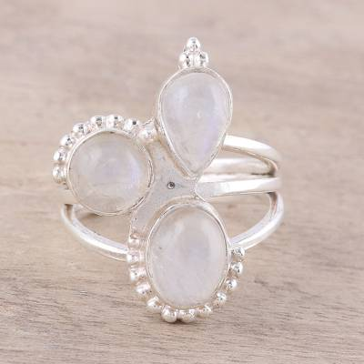 Rainbow moonstone cocktail ring, 'Triple Elegance' - Three-Stone Rainbow Moonstone Cocktail Ring from India