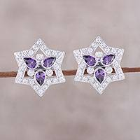 Rhodium plated sterling silver button earrings, 'Glistening Star' - Rhodium Plated Sterling Silver Button Earrings from India