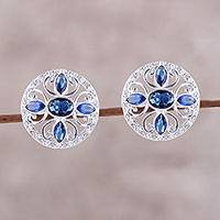 Rhodium plated sterling silver button earrings, 'Fantastic Flower' - Rhodium Plated Sterling Silver and CZ Button Earrings