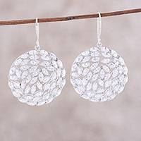 Rhodium plated sterling silver dangle earrings, 'Sparkling Circles' - Rhodium Plated Sterling Silver and CZ Dangle Earrings