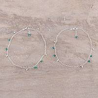Onyx anklets, 'Green Tint' (pair)
