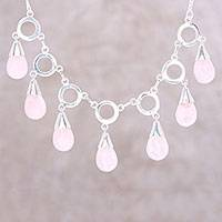 Rose quartz pendant necklace, 'Delightful Dance' - Rose Quartz Linked Pendant Necklace from India